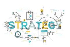 Ligne mince bannière plate de conception des affaires et de la stratégie marketing Photographie stock libre de droits