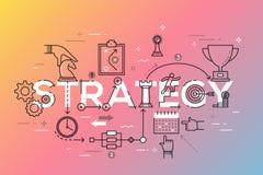 Ligne mince bannière plate de conception des affaires et de la stratégie marketing Images libres de droits