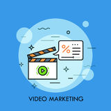Ligne mince bannière plate de conception du marketing et de la publicité Photos stock