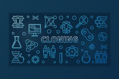 Ligne mince bleue de clonage bannière - illustration linéaire de vecteur illustration stock