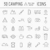 Ligne mince campante ensemble d'icône des éléments d'aventure illustration de vecteur