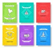 Ligne mince cartes en liasse de la Thaïlande de brochure Calibre de pays de flyear, magazines, affiches, couverture de livre, ban illustration libre de droits