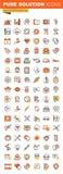 Ligne mince collection plate de soins de santé d'icônes de Web de conception Photos libres de droits