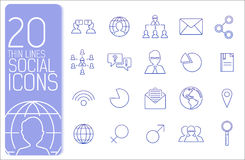 Ligne mince concept réglé d'icônes d'affaires Vecteur Photographie stock libre de droits