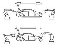 Ligne mince ligne de chaîne de montage de voiture de style illustration libre de droits