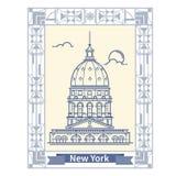 Ligne mince de New York de voyage icône de touristes de destination de New York dans le rectangle Photographie stock libre de droits