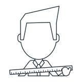 Ligne mince de règle de construction d'homme d'Architec grande illustration de vecteur