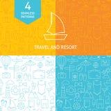 Ligne mince ensemble d'Art Summer Holiday Travel Patterns Photographie stock