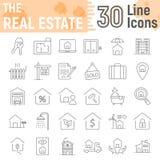 Ligne mince ensemble d'icône, signes à la maison de Real Estate illustration libre de droits