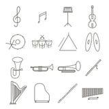 Ligne mince ensemble d'instrument de Musica d'icône Photos stock