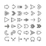 Ligne mince ensemble de flèche de vecteur d'icône. Conception plate illustration de vecteur