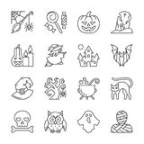 Ligne mince ensemble de Halloween de course Editable d'icône illustration stock