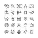 Ligne mince ensemble de noir d'affaires de gestion d'icône Vecteur Images stock