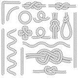 Ligne mince ensemble de noir de frontières de noeuds de corde d'icône Vecteur Photo libre de droits