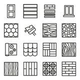 Ligne mince ensemble de noir de signes de matériaux de construction de bâtiments d'icône Vecteur illustration libre de droits