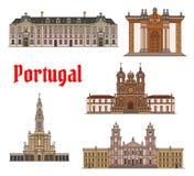 Ligne mince ensemble de point de repère de voyage de Portugais d'icône illustration stock