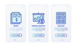 Ligne mince ensemble de rapport financier d'icônes illustration de vecteur