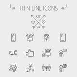 Ligne mince ensemble de technologie d'icône Photos libres de droits