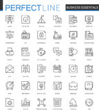 Ligne mince essentielle icônes d'affaires de Web réglées Conception d'icônes de course d'ensemble Photos libres de droits