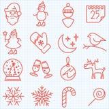 Ligne mince hiver et icônes de temps de Noël réglées Image libre de droits