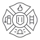 Ligne mince icône d'emblème du feu, symbole et sapeur-pompier, signe d'insigne du feu, graphiques de vecteur, un modèle linéaire  illustration de vecteur