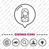 Ligne mince icônes d'icône femelle de personnes de bonification Photos stock