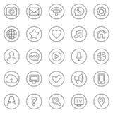 Ligne mince icônes de contact et de communication de Web réglées Images libres de droits