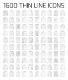 Ligne mince icônes de l'exclusivité 1600 réglées Images libres de droits