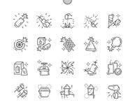 Ligne mince icônes de vecteur parfait de pixel Bien-ouvrée par pyrotechnie illustration de vecteur