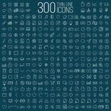 300 ligne mince icônes universelles réglées Photographie stock libre de droits
