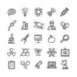 Ligne mince icône de recherches de la Science réglée comme le microscope, loupe, idée d'ampoule illustration stock
