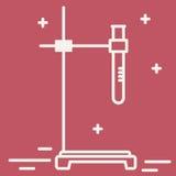 Ligne mince icône de support avec le flacon chimique Signe chimique de vecteur d'équipement de laboratoire Illustration de recher Photographie stock libre de droits