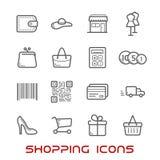 Ligne mince icônes d'achats et de vente au détail illustration de vecteur