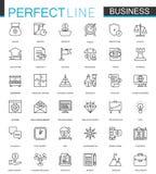 Ligne mince icônes d'affaires de Web réglées Conception d'icône de course d'ensemble Images stock