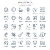 Ligne mince icônes d'exploration d'espace illustration stock