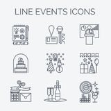 Ligne mince icônes d'organisation d'événements et d'occasions spéciales Photographie stock libre de droits
