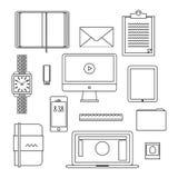 Ligne mince icônes de conception plate réglées Photos libres de droits