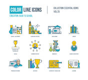 Ligne mince icônes de couleur réglées Équipement d'école, langue Images stock