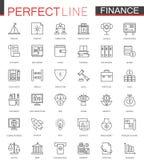Ligne mince icônes de finances d'affaires de Web réglées Conception d'icônes de course d'ensemble d'argent Photo stock