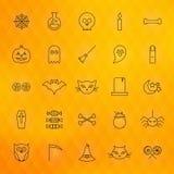Ligne mince icônes de Halloween réglées illustration stock