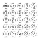 Ligne mince icônes de jeu classique réglées Image libre de droits