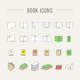 Ligne mince icônes de livre Images stock