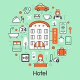 Ligne mince icônes de logement d'hôtel réglées avec la réception et les services illustration stock