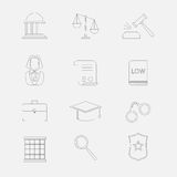 Ligne mince icônes de loi et de justice Le système judiciaire, le juge, la police et l'avocat Image stock