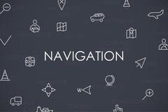 Ligne mince icônes de navigation Photographie stock libre de droits