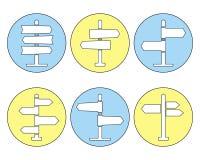 Ligne mince icônes de panneau routier réglées illustration stock