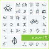Ligne mince icônes de vecteur réglées écologie Photos stock