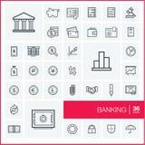Ligne mince icônes de vecteur réglées banking Photos libres de droits