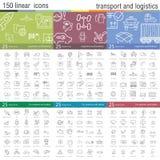 Ligne mince icônes de vecteur réglées pour le transport Images stock