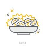 Ligne mince icônes, salade illustration libre de droits